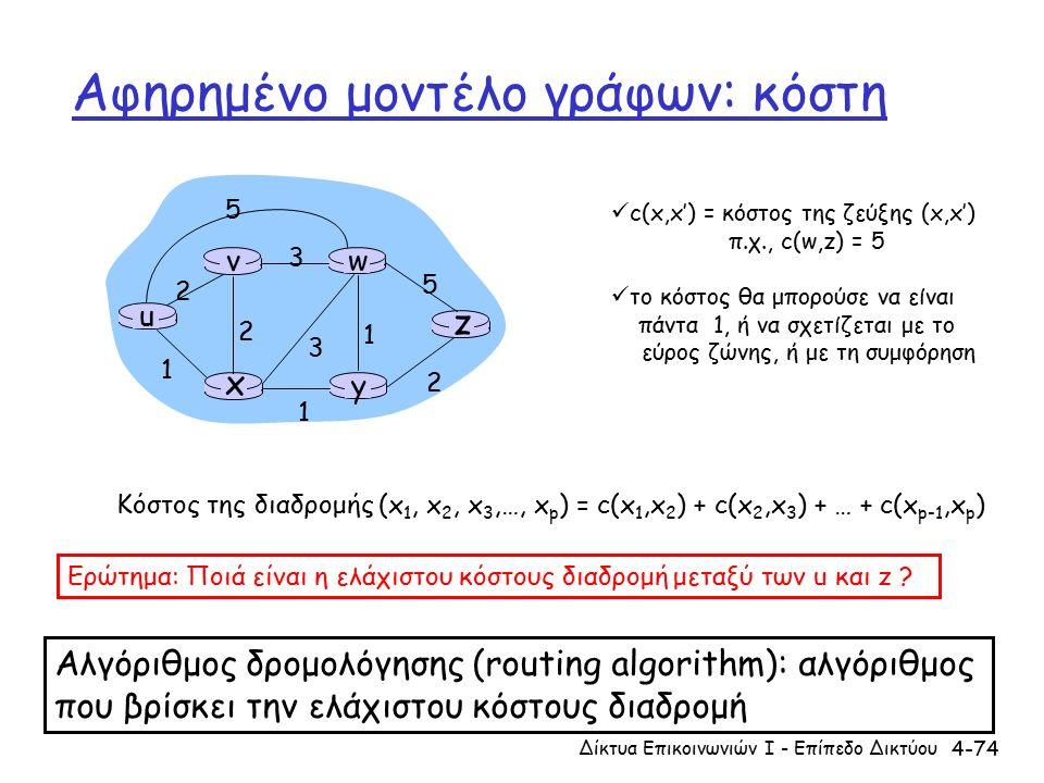 4-74 Αφηρημένο μοντέλο γράφων: κόστη u y x wv z 2 2 1 3 1 1 2 5 3 5 c(x,x') = κόστος της ζεύξης (x,x') π.χ., c(w,z) = 5 το κόστος θα μπορούσε να είναι πάντα 1, ή να σχετίζεται με το εύρος ζώνης, ή με τη συμφόρηση Κόστος της διαδρομής (x 1, x 2, x 3,…, x p ) = c(x 1,x 2 ) + c(x 2,x 3 ) + … + c(x p-1,x p ) Ερώτημα: Ποιά είναι η ελάχιστου κόστους διαδρομή μεταξύ των u και z .