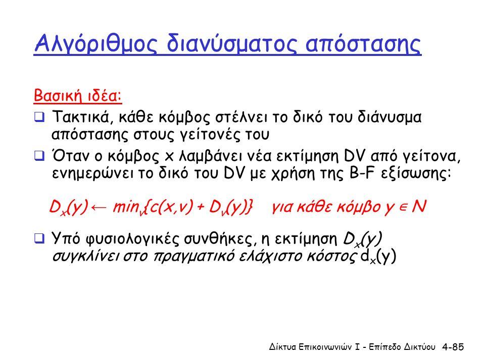 4-85 Αλγόριθμος διανύσματος απόστασης Βασική ιδέα:  Τακτικά, κάθε κόμβος στέλνει το δικό του διάνυσμα απόστασης στους γείτονές του  Όταν ο κόμβος x λαμβάνει νέα εκτίμηση DV από γείτονα, ενημερώνει το δικό του DV με χρήση της B-F εξίσωσης: D x (y) ← min v {c(x,v) + D v (y)} για κάθε κόμβο y ∊ N  Υπό φυσιολογικές συνθήκες, η εκτίμηση D x (y) συγκλίνει στο πραγματικό ελάχιστο κόστος d x (y) Δίκτυα Επικοινωνιών Ι - Επίπεδο Δικτύου