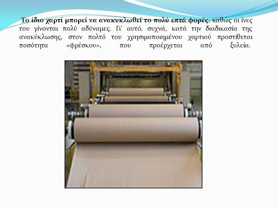 Το ίδιο χαρτί μπορεί να ανακυκλωθεί το πολύ επτά φορές, καθώς οι ίνες του γίνονται πολύ αδύναμες. Γι' αυτό, συχνά, κατά την διαδικασία της ανακύκλωσης