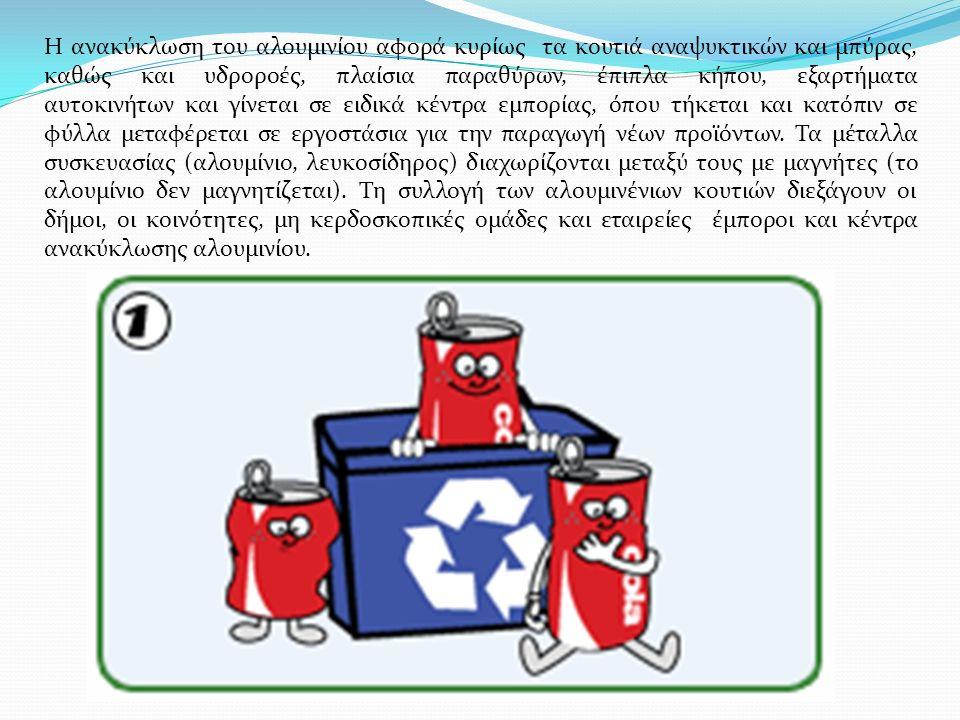 Η ανακύκλωση του αλουμινίου αφορά κυρίως τα κουτιά αναψυκτικών και μπύρας, καθώς και υδροροές, πλαίσια παραθύρων, έπιπλα κήπου, εξαρτήματα αυτοκινήτων