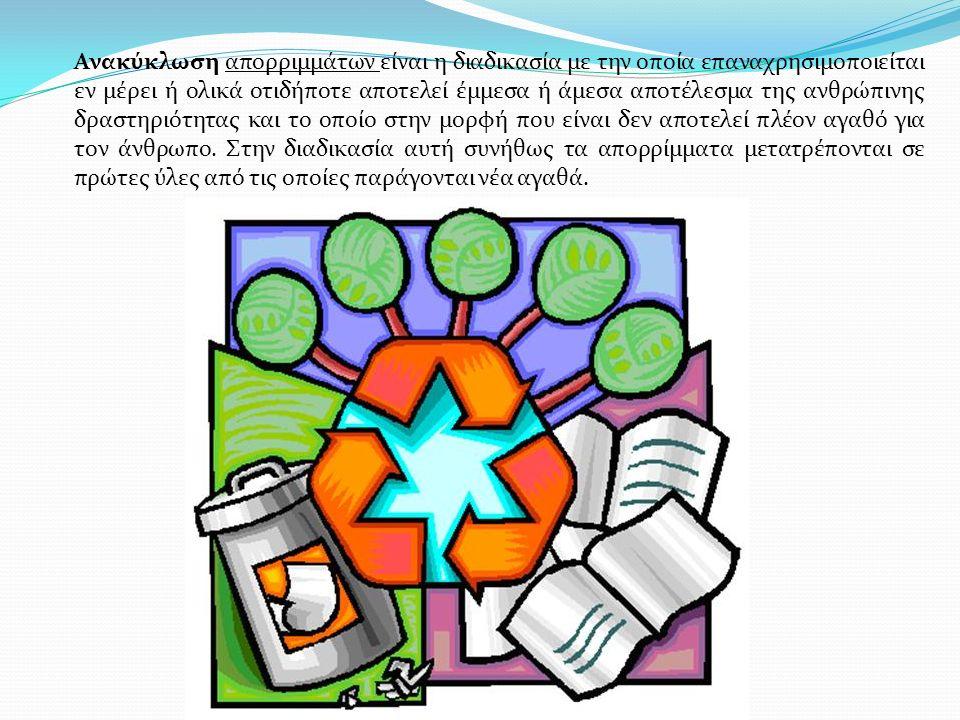 Ανακύκλωση απορριμμάτων είναι η διαδικασία με την οποία επαναχρησιμοποιείται εν μέρει ή ολικά οτιδήποτε αποτελεί έμμεσα ή άμεσα αποτέλεσμα της ανθρώπι