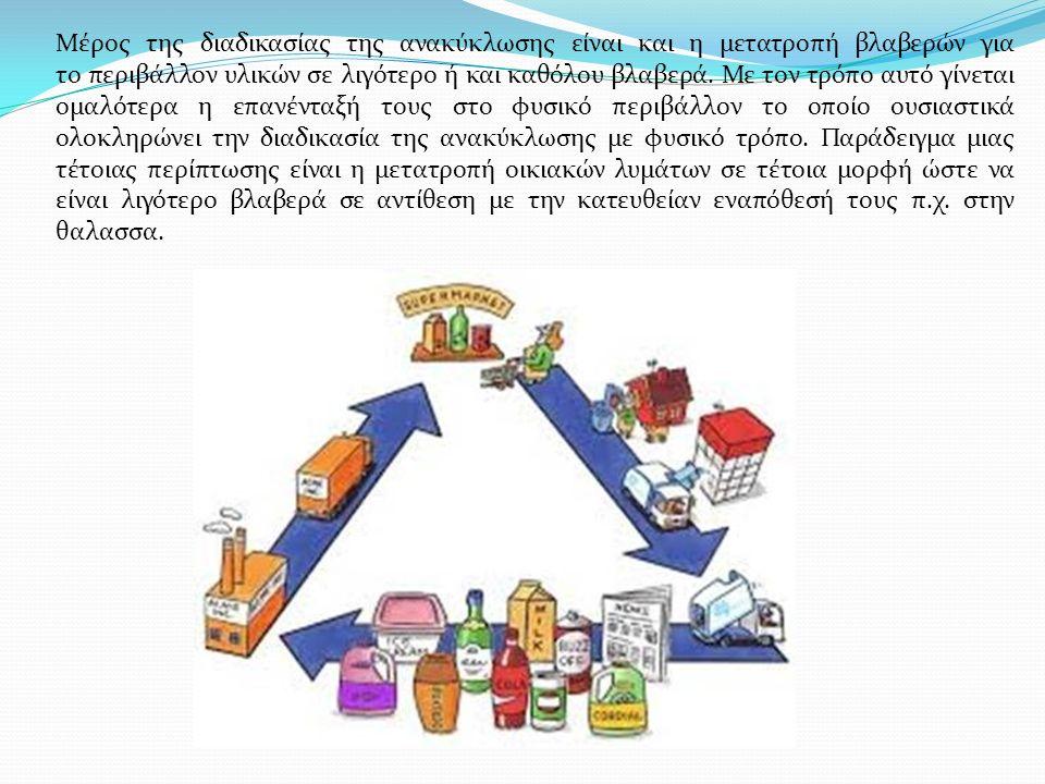 Μέρος της διαδικασίας της ανακύκλωσης είναι και η μετατροπή βλαβερών για το περιβάλλον υλικών σε λιγότερο ή και καθόλου βλαβερά. Με τον τρόπο αυτό γίν
