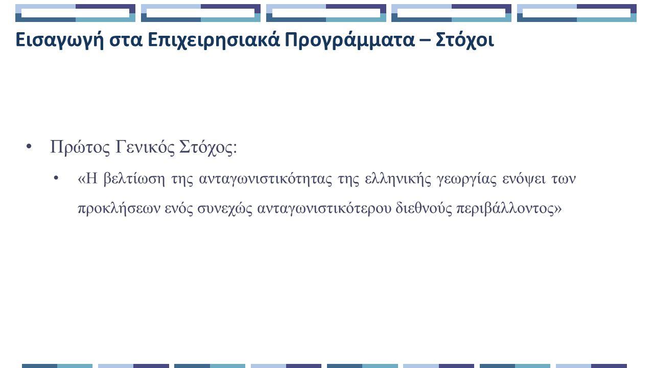 Εισαγωγή στα Επιχειρησιακά Προγράμματα – Στόχοι Πρώτος Γενικός Στόχος: «Η βελτίωση της ανταγωνιστικότητας της ελληνικής γεωργίας ενόψει των προκλήσεων ενός συνεχώς ανταγωνιστικότερου διεθνούς περιβάλλοντος»