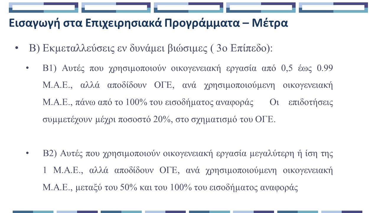 Εισαγωγή στα Επιχειρησιακά Προγράμματα – Μέτρα Β) Εκµεταλλεύσεις εν δυνάµει βιώσιµες ( 3ο Επίπεδο): Β1) Αυτές που χρησιµοποιούν οικογενειακή εργασία από 0,5 έως 0.99 Μ.Α.Ε., αλλά αποδίδουν ΟΓΕ, ανά χρησιµοποιούµενη οικογενειακή Μ.Α.Ε., πάνω από το 100% του εισοδήµατος αναφοράςΟι επιδοτήσεις συµµετέχουν µέχρι ποσοστό 20%, στο σχηµατισµό του ΟΓΕ.