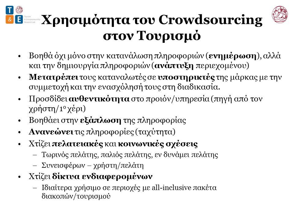 Χρησιμότητα του Crowdsourcing στον Τουρισμό Βοηθά όχι μόνο στην κατανάλωση πληροφοριών (ενημέρωση), αλλά και την δημιουργία πληροφοριών (ανάπτυξη περιεχομένου) Μετατρέπει τους καταναλωτές σε υποστηρικτές της μάρκας με την συμμετοχή και την ενασχόλησή τους στη διαδικασία.
