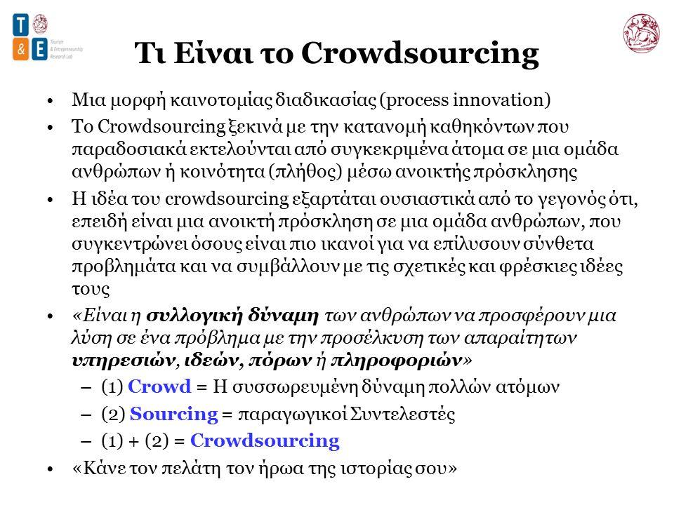 Τι Είναι το Crowdsourcing Μια μορφή καινοτομίας διαδικασίας (process innovation) Το Crowdsourcing ξεκινά με την κατανομή καθηκόντων που παραδοσιακά εκτελούνται από συγκεκριμένα άτομα σε μια ομάδα ανθρώπων ή κοινότητα (πλήθος) μέσω ανοικτής πρόσκλησης Η ιδέα του crowdsourcing εξαρτάται ουσιαστικά από το γεγονός ότι, επειδή είναι μια ανοικτή πρόσκληση σε μια ομάδα ανθρώπων, που συγκεντρώνει όσους είναι πιο ικανοί για να επίλυσουν σύνθετα προβλημάτα και να συμβάλλουν με τις σχετικές και φρέσκιες ιδέες τους «Είναι η συλλογική δύναμη των ανθρώπων να προσφέρουν μια λύση σε ένα πρόβλημα με την προσέλκυση των απαραίτητων υπηρεσιών, ιδεών, πόρων ή πληροφοριών» –(1) Crowd = Η συσσωρευμένη δύναμη πολλών ατόμων –(2) Sourcing = παραγωγικοί Συντελεστές –(1) + (2) = Crowdsourcing «Κάνε τον πελάτη τον ήρωα της ιστορίας σου»