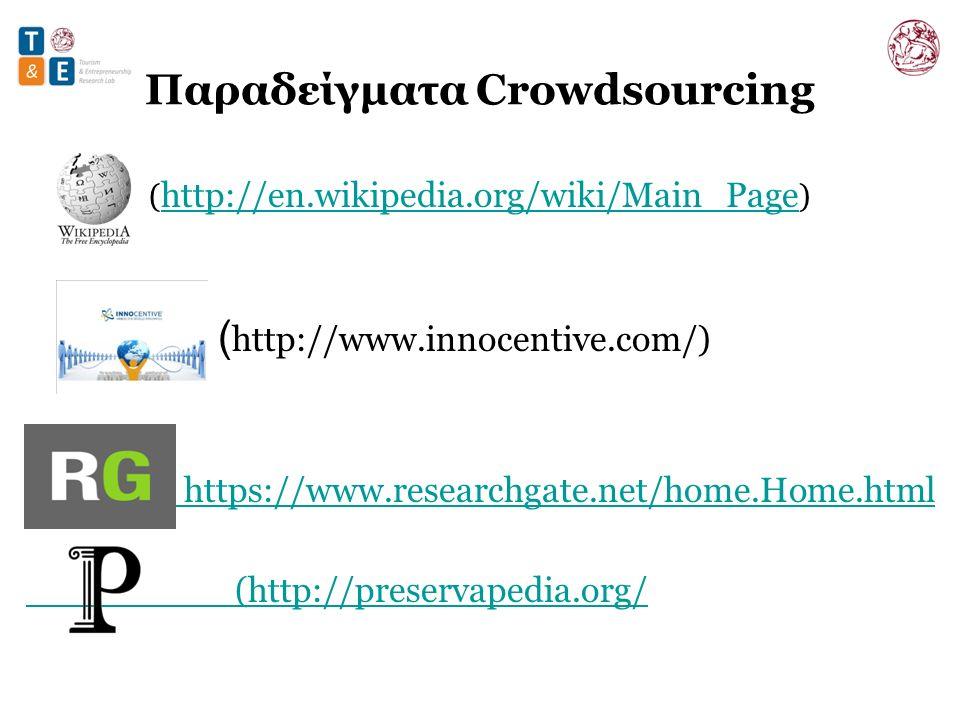Παραδείγματα Crowdsourcing ( http://en.wikipedia.org/wiki/Main_Page ) http://en.wikipedia.org/wiki/Main_Page ( http://www.innocentive.com/) https://www.researchgate.net/home.Home.html (http://preservapedia.org/