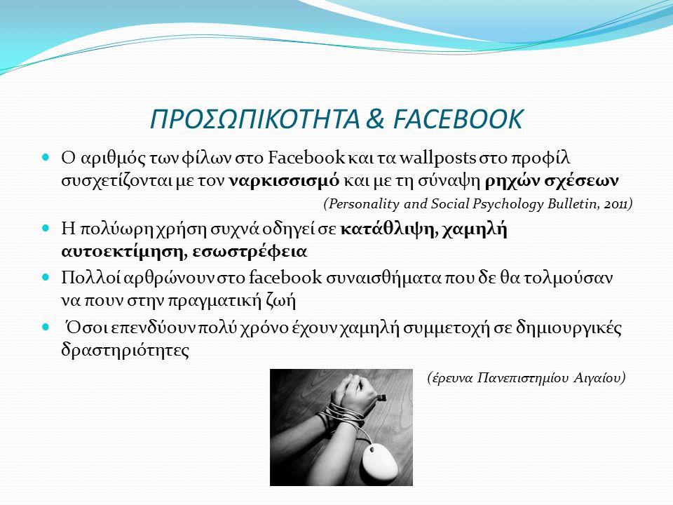 ΠΡΟΣΩΠΙΚΟΤΗΤΑ & FACEBOOK Ο αριθμός των φίλων στο Facebook και τα wallposts στο προφίλ συσχετίζονται με τον ναρκισσισμό και με τη σύναψη ρηχών σχέσεων (Personality and Social Psychology Bulletin, 2011) Η πολύωρη χρήση συχνά οδηγεί σε κατάθλιψη, χαμηλή αυτοεκτίμηση, εσωστρέφεια Πολλοί αρθρώνουν στο facebook συναισθήματα που δε θα τολμούσαν να πουν στην πραγματική ζωή Όσοι επενδύουν πολύ χρόνο έχουν χαμηλή συμμετοχή σε δημιουργικές δραστηριότητες (έρευνα Πανεπιστημίου Αιγαίου)