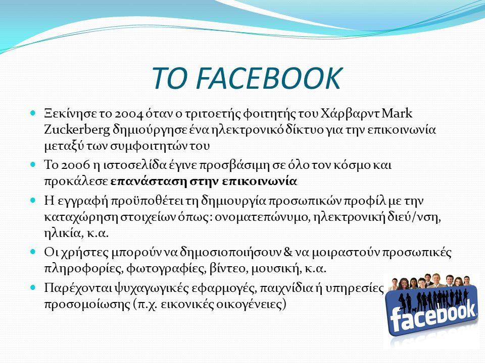 ΕΞΑΠΛΩΣΗ ΥΠΗΡΕΣΙΩΝ ΚΟΙΝΩΝΙΚΗΣ ΔΙΚΤΥΩΣΗΣ Μόνο το facebook είχε το 2011 περίπου 800.000.000 χρήστες απ' όλο τον κόσμο 1 στους 3 Έλληνες (36%) χρησιμοποιεί σήμερα τα κοινωνικά δίκτυα με σκοπό να έρθει σε επικοινωνία με τους φίλους του, να εκφραστεί, να ψυχαγωγηθεί, να αποδράσει, να φλερτάρει και να εκτονωθεί Πηγή: Συνδέσμος Επιχειρήσεων Πληροφορικής & Επικοινωνιών 75% των παιδιών και εφήβων στην Ευρώπη χρησιμοποιούν τα μέσα κοινωνικής δικτύωσης Πηγή: Ευρωπαϊκό Κοινοβούλιο 1 στα 2 ελληνόπουλα, ηλικίας 9-16 ετών, διαθέτει προφίλ σε πλατφόρμα κοινωνικής δικτύωσης Πηγή: Ευρωπαϊκή Επιτροπή