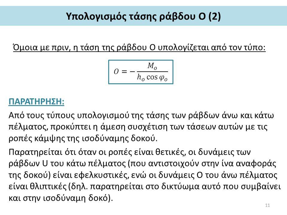 Υπολογισμός τάσης ράβδου O (2) Όμοια με πριν, η τάση της ράβδου Ο υπολογίζεται από τον τύπο: ΠΑΡΑΤΗΡΗΣΗ: Από τους τύπους υπολογισμού της τάσης των ράβδων άνω και κάτω πέλματος, προκύπτει η άμεση συσχέτιση των τάσεων αυτών με τις ροπές κάμψης της ισοδύναμης δοκού.