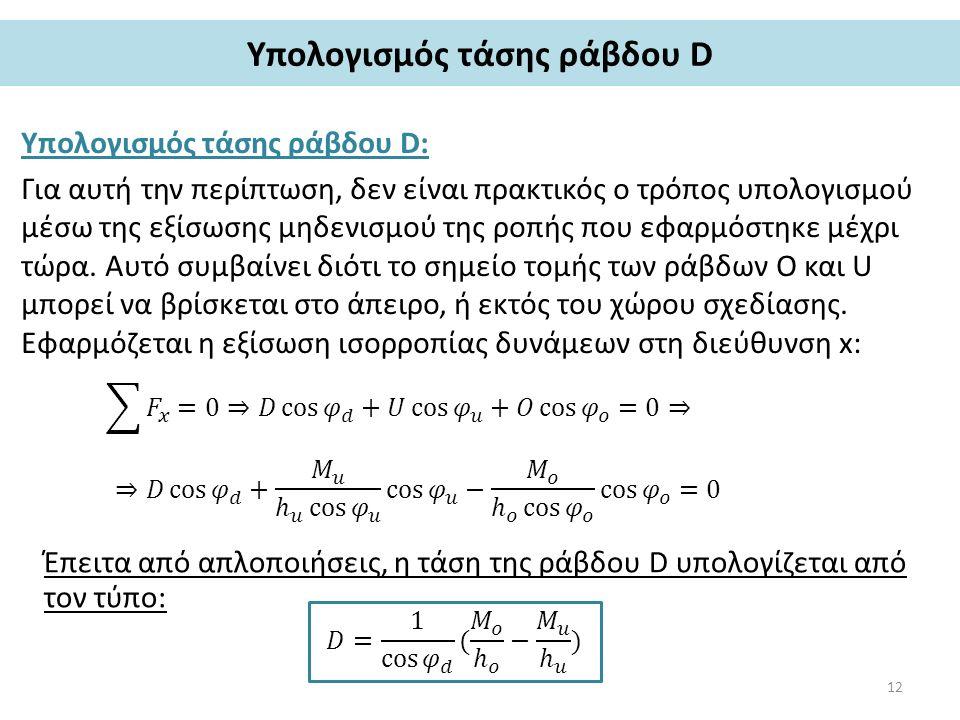 Υπολογισμός τάσης ράβδου D Υπολογισμός τάσης ράβδου D: Για αυτή την περίπτωση, δεν είναι πρακτικός ο τρόπος υπολογισμού μέσω της εξίσωσης μηδενισμού της ροπής που εφαρμόστηκε μέχρι τώρα.