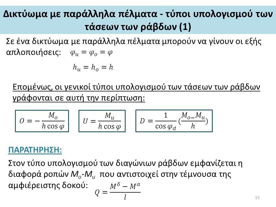 Δικτύωμα με παράλληλα πέλματα - τύποι υπολογισμού των τάσεων των ράβδων (1) Σε ένα δικτύωμα με παράλληλα πέλματα μπορούν να γίνουν οι εξής απλοποιήσεις: Επομένως, οι γενικοί τύποι υπολογισμού των τάσεων των ράβδων γράφονται σε αυτή την περίπτωση: ΠΑΡΑΤΗΡΗΣΗ: Στον τύπο υπολογισμού των διαγώνιων ράβδων εμφανίζεται η διαφορά ροπών M o -M u που αντιστοιχεί στην τέμνουσα της αμφιέρειστης δοκού: 15