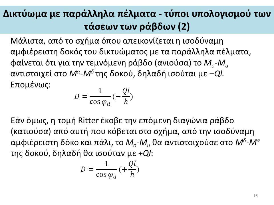Δικτύωμα με παράλληλα πέλματα - τύποι υπολογισμού των τάσεων των ράβδων (2) Μάλιστα, από το σχήμα όπου απεικονίζεται η ισοδύναμη αμφιέρειστη δοκός του δικτυώματος με τα παράλληλα πέλματα, φαίνεται ότι για την τεμνόμενη ράβδο (ανιούσα) το M o -M u αντιστοιχεί στο Μ α -Μ δ της δοκού, δηλαδή ισούται με –Ql.