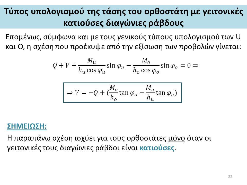 Τύπος υπολογισμού της τάσης του ορθοστάτη με γειτονικές κατιούσες διαγώνιες ράβδους Επομένως, σύμφωνα και με τους γενικούς τύπους υπολογισμού των U και O, η σχέση που προέκυψε από την εξίσωση των προβολών γίνεται: ΣΗΜΕΙΩΣΗ: Η παραπάνω σχέση ισχύει για τους ορθοστάτες μόνο όταν οι γειτονικές τους διαγώνιες ράβδοι είναι κατιούσες.