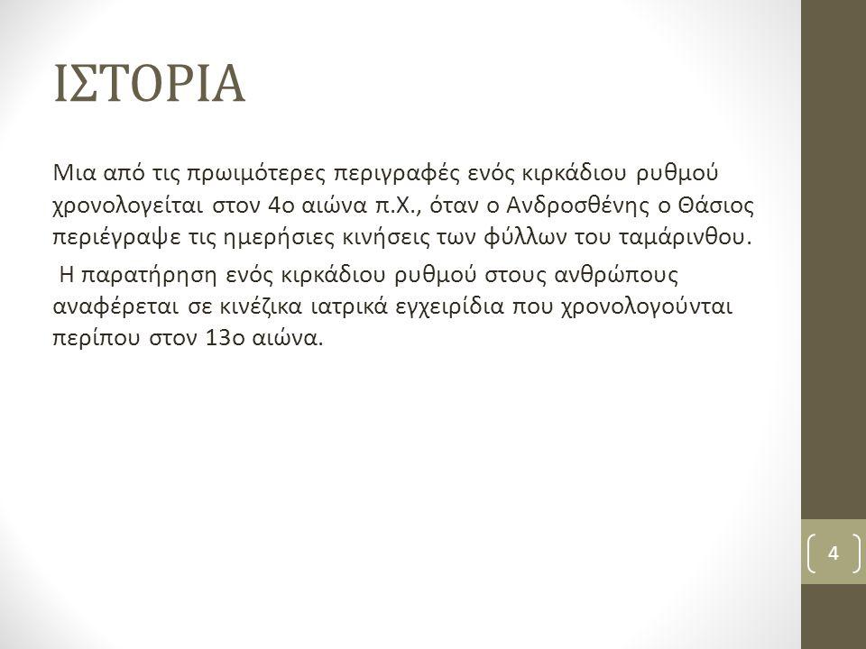 ΙΣΤΟΡΙΑ Μια από τις πρωιμότερες περιγραφές ενός κιρκάδιου ρυθμού χρονολογείται στον 4ο αιώνα π.Χ., όταν ο Ανδροσθένης ο Θάσιος περιέγραψε τις ημερήσιε