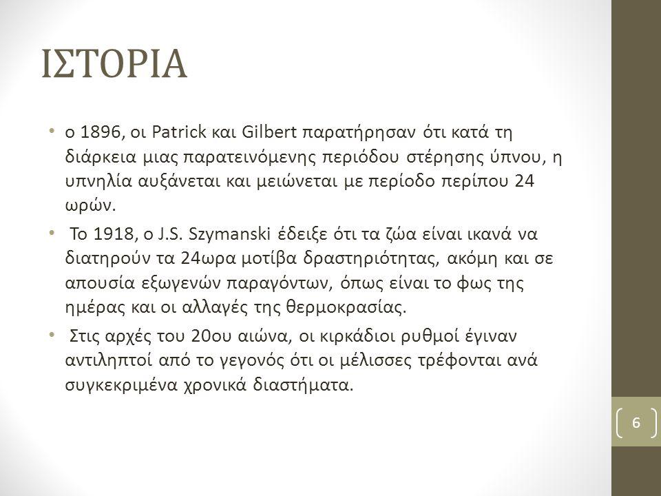 ΙΣΤΟΡΙΑ ο 1896, οι Patrick και Gilbert παρατήρησαν ότι κατά τη διάρκεια μιας παρατεινόμενης περιόδου στέρησης ύπνου, η υπνηλία αυξάνεται και μειώνεται