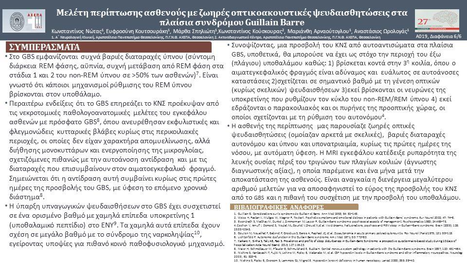 Μελέτη περίπτωσης ασθενούς με ζωηρές οπτικοακουστικές ψευδαισθητώσεις στα πλαίσια συνδρόμου Guillain Barre Κωνσταντίνος Νώτας 1, Ευφροσύνη Κουτσουράκη 1, Μάρθα Σπηλιώτη 1,Κωνσταντίνος Κούσκουρας 2, Μαριάνθη Αρναούτογλου 1, Αναστάσιος Ωρολογάς 1 1.