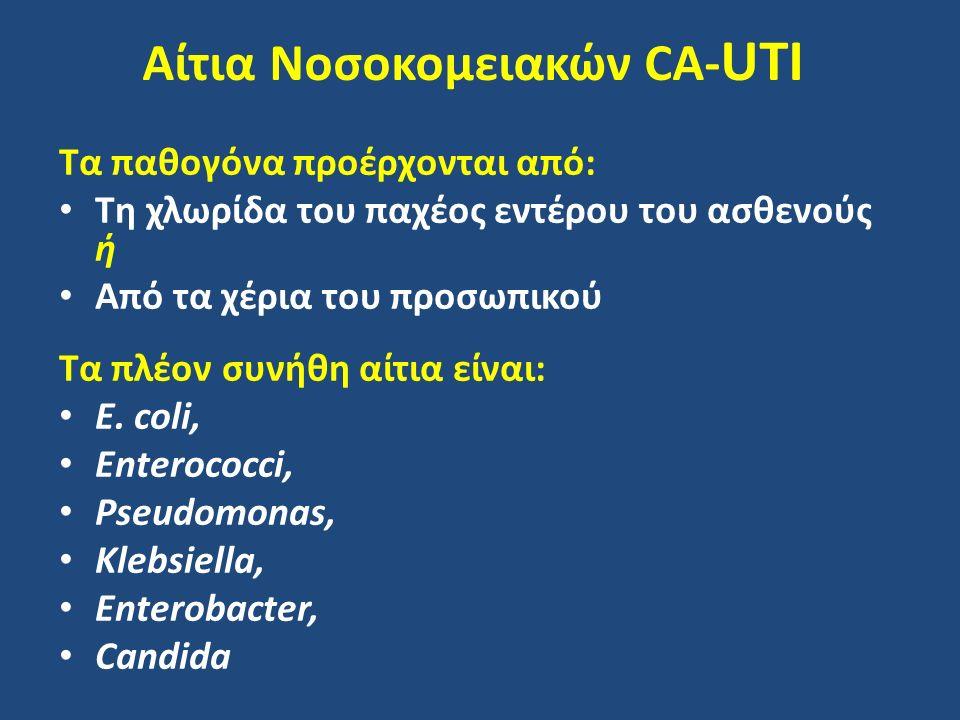Αίτια Νοσοκομειακών CA- UTI Τα παθογόνα προέρχονται από: Τη χλωρίδα του παχέος εντέρου του ασθενούς ή Από τα χέρια του προσωπικού Τα πλέον συνήθη αίτια είναι: E.