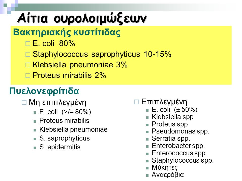 Αίτια ουρολοιμώξεων Βακτηριακής κυστίτιδας  E. coli 80%  Staphylococcus saprophyticus 10-15%  Klebsiella pneumoniae 3%  Proteus mirabilis 2% Πυελο