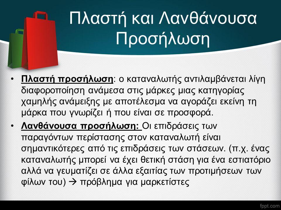 Πλαστή και Λανθάνουσα Προσήλωση Πλαστή προσήλωση: ο καταναλωτής αντιλαμβάνεται λίγη διαφοροποίηση ανάμεσα στις μάρκες μιας κατηγορίας χαμηλής ανάμειξης με αποτέλεσμα να αγοράζει εκείνη τη μάρκα που γνωρίζει ή που είναι σε προσφορά.