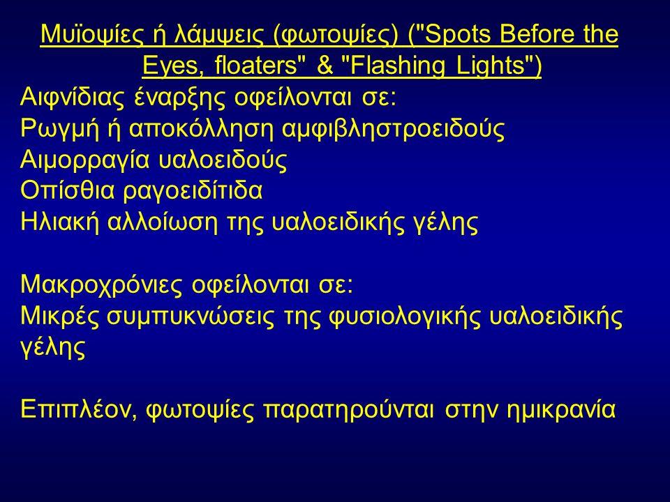 Μυϊοψίες ή λάμψεις (φωτοψίες) ( Spots Before the Eyes, floaters & Flashing Lights ) Αιφνίδιας έναρξης οφείλονται σε: Ρωγμή ή αποκόλληση αμφιβληστροειδούς Αιμορραγία υαλοειδούς Οπίσθια ραγοειδίτιδα Ηλιακή αλλοίωση της υαλοειδικής γέλης Μακροχρόνιες οφείλονται σε: Μικρές συμπυκνώσεις της φυσιολογικής υαλοειδικής γέλης Επιπλέον, φωτοψίες παρατηρούνται στην ημικρανία