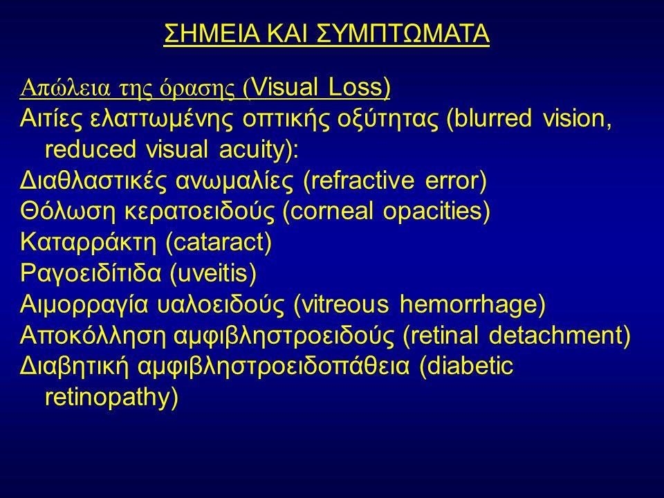ΣΗΜΕΙΑ ΚΑΙ ΣΥΜΠΤΩΜΑΤΑ Απώλεια της όρασης ( Visual Loss) Αιτίες ελαττωμένης οπτικής οξύτητας (blurred vision, reduced visual acuity): Διαθλαστικές ανωμαλίες (refractive error) Θόλωση κερατοειδούς (corneal opacities) Καταρράκτη (cataract) Ραγοειδίτιδα (uveitis) Αιμορραγία υαλοειδούς (vitreous hemorrhage) Αποκόλληση αμφιβληστροειδούς (retinal detachment) Διαβητική αμφιβληστροειδοπάθεια (diabetic retinopathy)