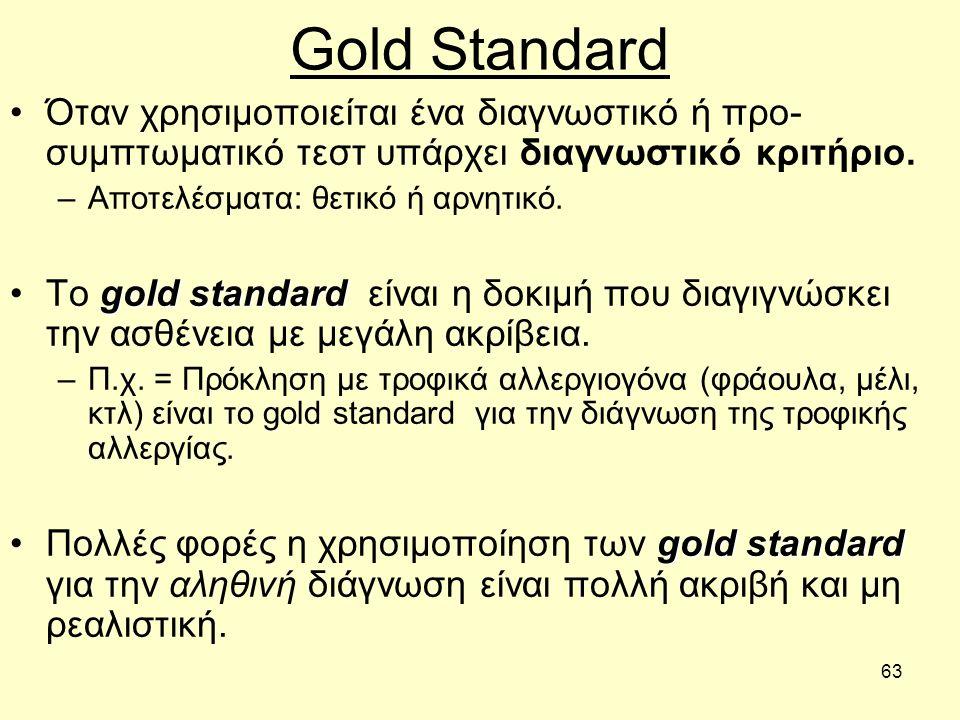 63 Gold Standard Όταν χρησιμοποιείται ένα διαγνωστικό ή προ- συμπτωματικό τεστ υπάρχει διαγνωστικό κριτήριο.