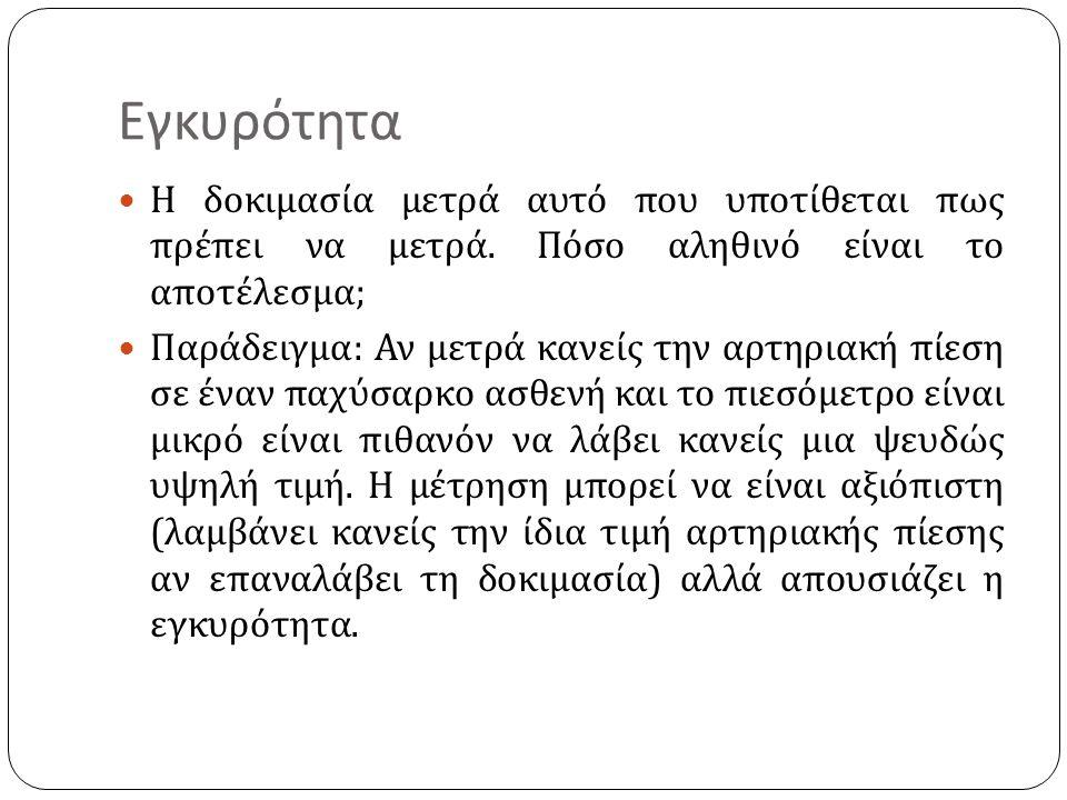 Εγκυρότητα Η δοκιμασία μετρά αυτό που υποτίθεται πως πρέπει να μετρά.