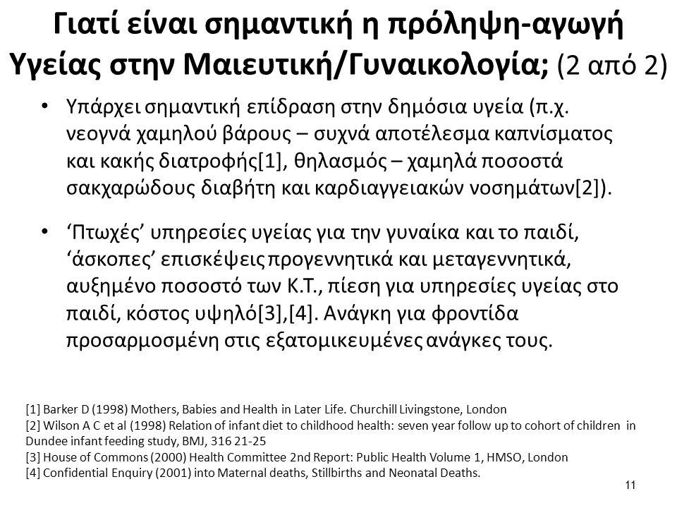 Γιατί είναι σημαντική η πρόληψη-αγωγή Υγείας στην Μαιευτική/Γυναικολογία; (2 από 2) Υπάρχει σημαντική επίδραση στην δημόσια υγεία (π.χ.