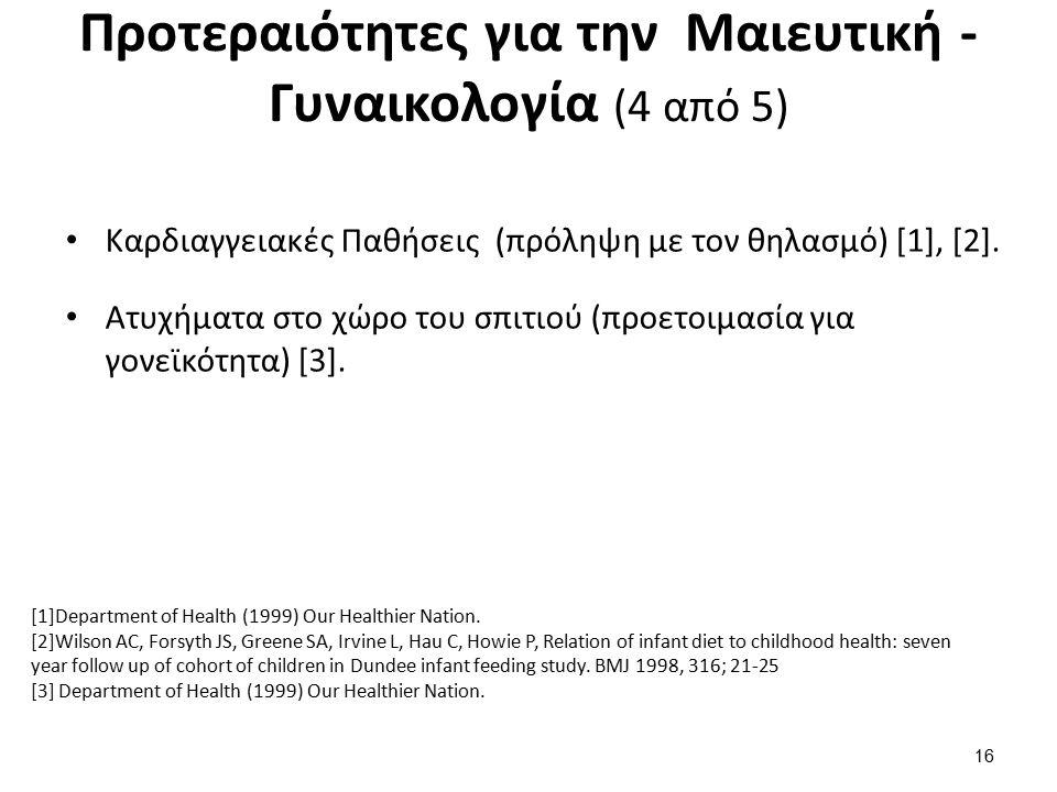 Προτεραιότητες για την Μαιευτική - Γυναικολογία (4 από 5) Καρδιαγγειακές Παθήσεις (πρόληψη με τον θηλασμό) [1], [2].