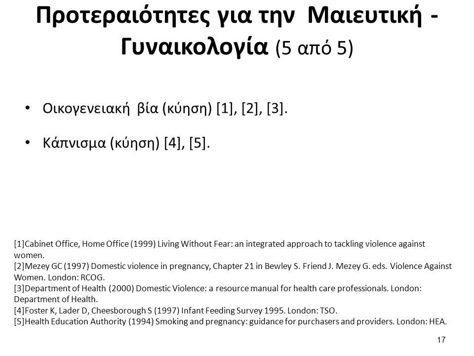 Προτεραιότητες για την Μαιευτική - Γυναικολογία (5 από 5) Οικογενειακή βία (κύηση) [1], [2], [3].
