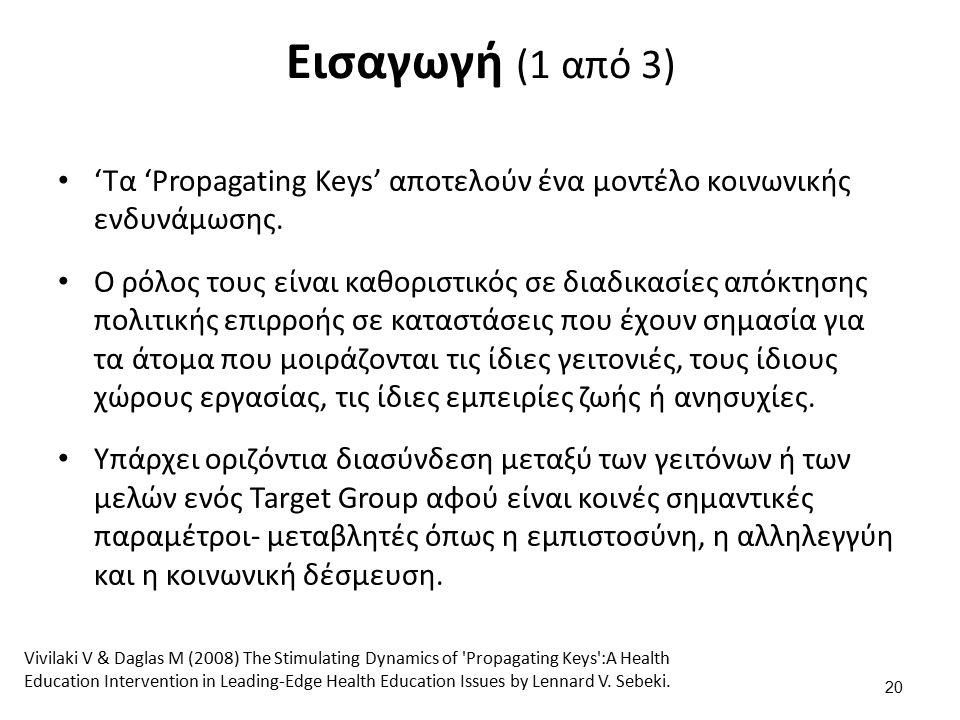 Εισαγωγή (1 από 3) 'Τα 'Propagating Keys' αποτελούν ένα μοντέλο κοινωνικής ενδυνάμωσης.
