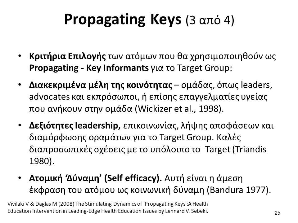 Propagating Keys (3 από 4) Κριτήρια Επιλογής των ατόμων που θα χρησιμοποιηθούν ως Propagating - Key Informants για το Target Group: Διακεκριμένα μέλη της κοινότητας – ομάδας, όπως leaders, advocates και εκπρόσωποι, ή επίσης επαγγελματίες υγείας που ανήκουν στην ομάδα (Wickizer et al., 1998).