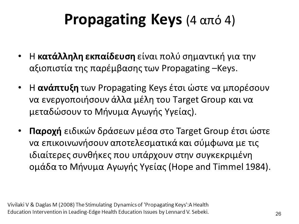 Propagating Keys (4 από 4) Η κατάλληλη εκπαίδευση είναι πολύ σημαντική για την αξιοπιστία της παρέμβασης των Propagating –Keys.