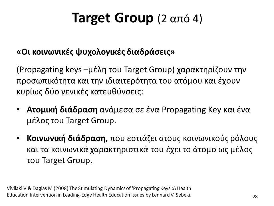 Target Group (2 από 4) «Οι κοινωνικές ψυχολογικές διαδράσεις» (Propagating keys –μέλη του Target Group) χαρακτηρίζουν την προσωπικότητα και την ιδιαιτερότητα του ατόμου και έχουν κυρίως δύο γενικές κατευθύνσεις: Ατομική διάδραση ανάμεσα σε ένα Propagating Key και ένα μέλος του Target Group.