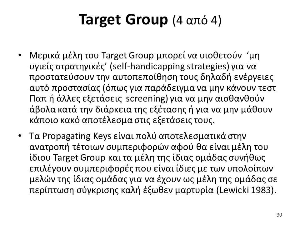 Target Group (4 από 4) Μερικά μέλη του Target Group μπορεί να υιοθετούν 'μη υγιείς στρατηγικές' (self-handicapping strategies) για να προστατεύσουν την αυτοπεποίθηση τους δηλαδή ενέργειες αυτό προστασίας (όπως για παράδειγμα να μην κάνουν τεστ Παπ ή άλλες εξετάσεις screening) για να μην αισθανθούν άβολα κατά την διάρκεια της εξέτασης ή για να μην μάθουν κάποιο κακό αποτέλεσμα στις εξετάσεις τους.