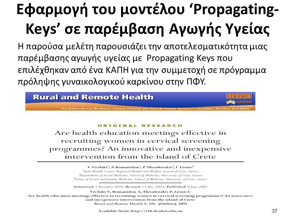 Εφαρμογή του μοντέλου 'Propagating- Keys' σε παρέμβαση Αγωγής Υγείας Η παρούσα μελέτη παρουσιάζει την αποτελεσματικότητα μιας παρέμβασης αγωγής υγείας με Propagating Keys που επιλέχθηκαν από ένα ΚΑΠΗ για την συμμετοχή σε πρόγραμμα πρόληψης γυναικολογικού καρκίνου στην ΠΦΥ.