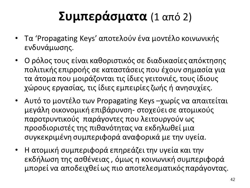 Συμπεράσματα (1 από 2) Τα 'Propagating Keys' αποτελούν ένα μοντέλο κοινωνικής ενδυνάμωσης.