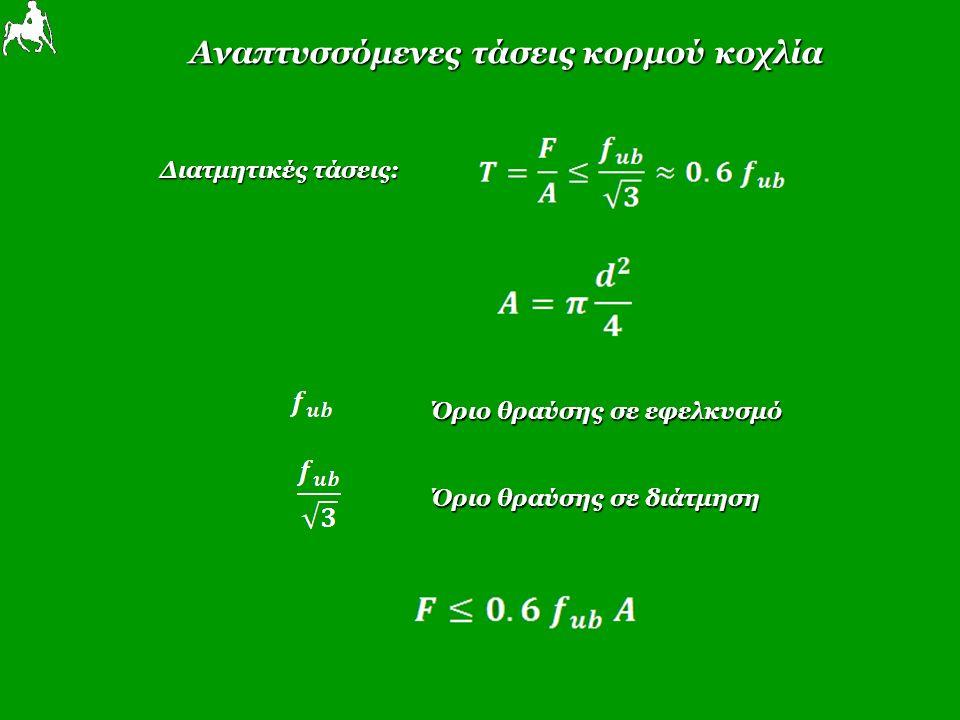Αναπτυσσόμενες τάσεις κορμού κοχλία Διατμητικές τάσεις: Όριο θραύσης σε εφελκυσμό Όριο θραύσης σε διάτμηση