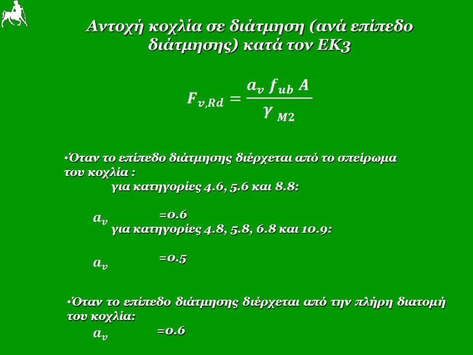 Αντοχή κοχλία σε διάτμηση (ανά επίπεδο διάτμησης) κατά τον ΕΚ3 Όταν το επίπεδο διάτμησης διέρχεται από το σπείρωμα Όταν το επίπεδο διάτμησης διέρχεται από το σπείρωμα του κοχλία : για κατηγορίες 4.6, 5.6 και 8.8: =0.6 για κατηγορίες 4.8, 5.8, 6.8 και 10.9: =0.5 Όταν το επίπεδο διάτμησης διέρχεται από την πλήρη διατομή του κοχλία: Όταν το επίπεδο διάτμησης διέρχεται από την πλήρη διατομή του κοχλία: =0.6 =0.6