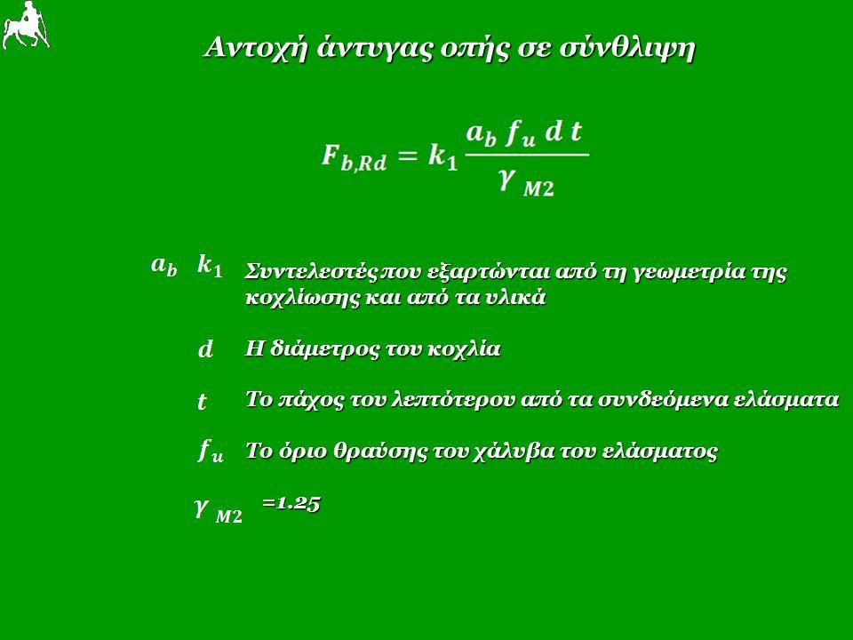 Αντοχή άντυγας οπής σε σύνθλιψη Συντελεστές που εξαρτώνται από τη γεωμετρία της κοχλίωσης και από τα υλικά Η διάμετρος του κοχλία Το πάχος του λεπτότερου από τα συνδεόμενα ελάσματα Το όριο θραύσης του χάλυβα του ελάσματος =1.25 =1.25