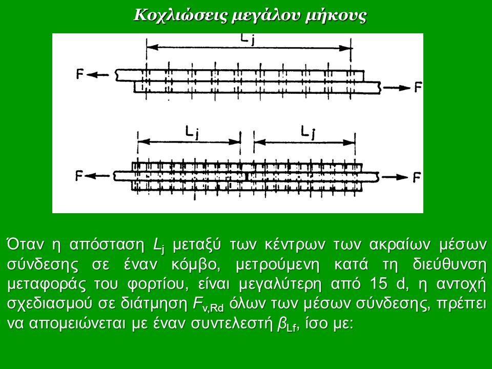 Όταν η απόσταση L j μεταξύ των κέντρων των ακραίων μέσων σύνδεσης σε έναν κόμβο, μετρούμενη κατά τη διεύθυνση μεταφοράς του φορτίου, είναι μεγαλύτερη από 15 d, η αντοχή σχεδιασμού σε διάτμηση F v,Rd όλων των μέσων σύνδεσης, πρέπει να απομειώνεται με έναν συντελεστή β Lf, ίσο με: