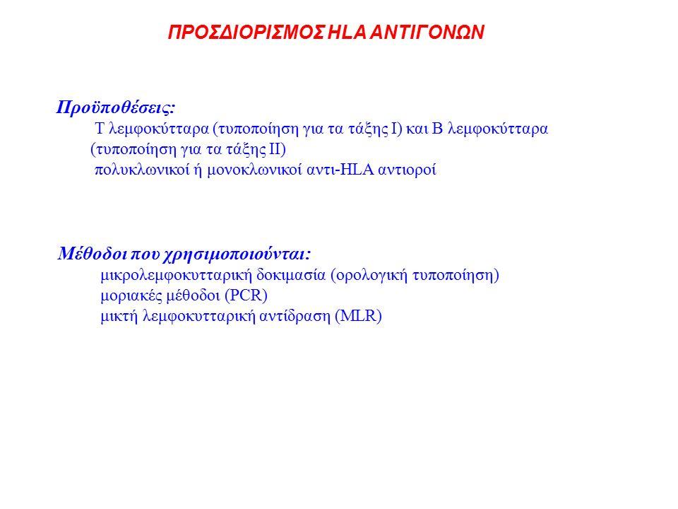 Προϋποθέσεις: Τ λεμφοκύτταρα (τυποποίηση για τα τάξης Ι) και Β λεμφοκύτταρα (τυποποίηση για τα τάξης ΙΙ) πολυκλωνικοί ή μονοκλωνικοί αντι-HLA αντιοροί Μέθοδοι που χρησιμοποιούνται: μικρολεμφοκυτταρική δοκιμασία (ορολογική τυποποίηση) μοριακές μέθοδοι (PCR) μικτή λεμφοκυτταρική αντίδραση (MLR) ΠΡΟΣΔΙΟΡΙΣΜΟΣ HLA ΑΝΤΙΓΟΝΩΝ