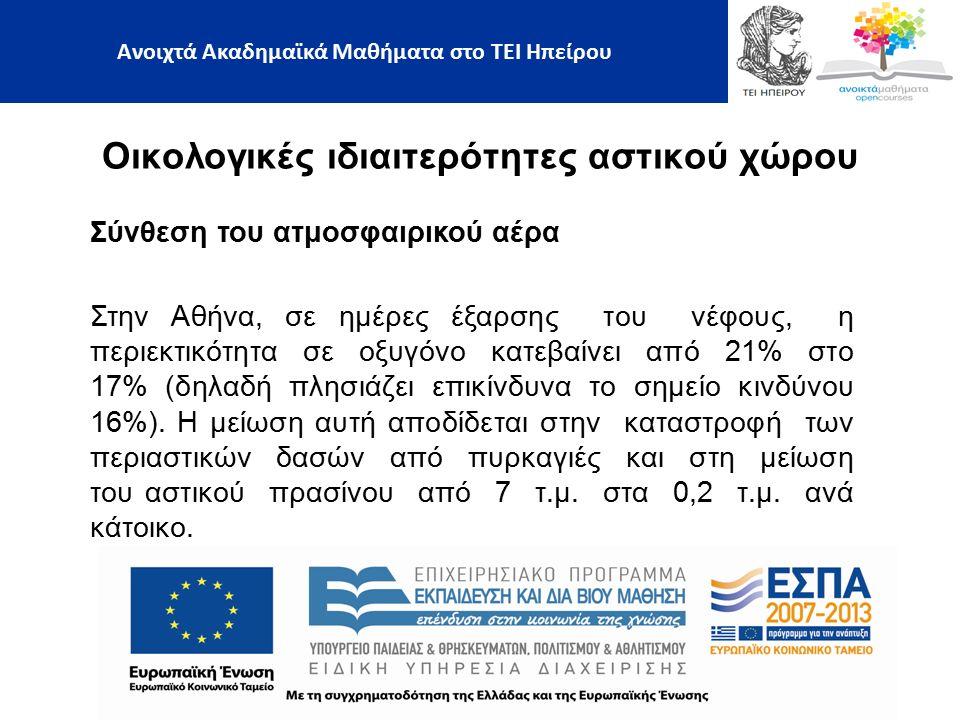 Οικολογικές ιδιαιτερότητες αστικού χώρου Ανοιχτά Ακαδημαϊκά Μαθήματα στο ΤΕΙ Ηπείρου Σύνθεση του ατμοσφαιρικού αέρα Στην Αθήνα, σε ημέρες έξαρσης του