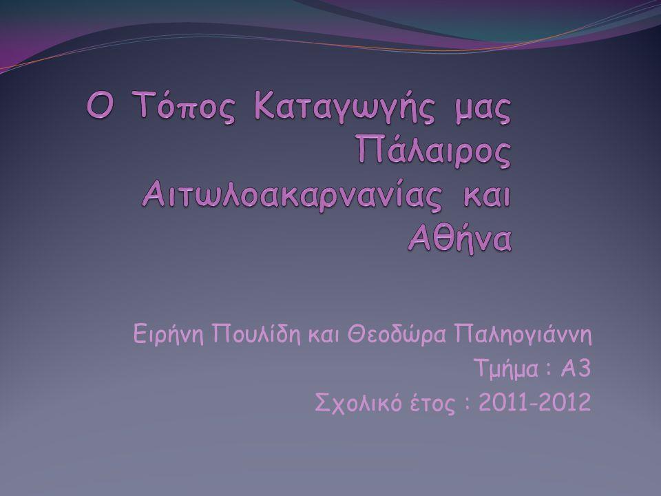 Ειρήνη Πουλίδη και Θεοδώρα Παληογιάννη Τμήμα : Α3 Σχολικό έτος : 2011-2012