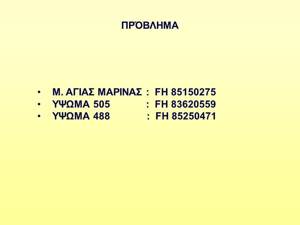 ΠΡΌΒΛΗΜΑ Μ. ΑΓΙΑΣ ΜΑΡΙΝΑΣ : FH 85150275 ΥΨΩΜΑ 505 : FH 83620559 ΥΨΩΜΑ 488 : FH 85250471