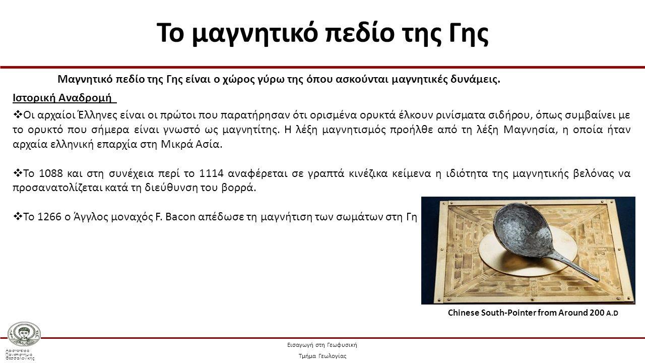 Αριστοτέλειο Πανεπιστήμιο Θεσσαλονίκης Εισαγωγή στη Γεωφυσική Τμήμα Γεωλογίας Το διάνυσμα της μαγνητικής επαγωγής, που οφείλεται στο κεντρικό δίπολο δίνεται από τη σχέση: (7.20) Κατακόρυφη συνιστώσα, Ζ: Οριζόντια συνιστώσα, Η: όπου (7.24) (7.25) (7.26) από τις (7.24) και (7.25) προκύπτει ότι: (7.28) Μαγνητικό πεδίο (Παπαζάχος & Παπαζάχος, 2008)