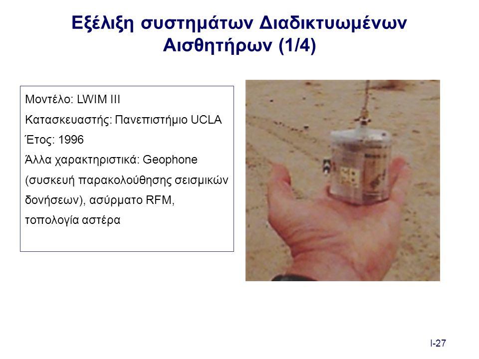 I-27 Εξέλιξη συστημάτων Διαδικτυωμένων Αισθητήρων (1/4) Μοντέλο: LWIM III Κατασκευαστής: Πανεπιστήμιο UCLA Έτος: 1996 Άλλα χαρακτηριστικά: Geophone (συσκευή παρακολούθησης σεισμικών δονήσεων), ασύρματο RFM, τοπολογία αστέρα