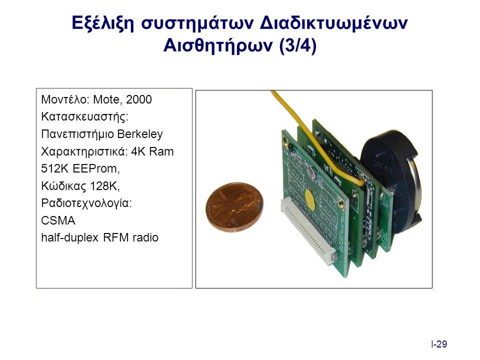 I-29 Εξέλιξη συστημάτων Διαδικτυωμένων Αισθητήρων (3/4) Μοντέλο: Mote, 2000 Κατασκευαστής: Πανεπιστήμιο Berkeley Χαρακτηριστικά: 4K Ram 512K EEProm, Κώδικας 128K, Ραδιοτεχνολογία: CSMA half-duplex RFM radio