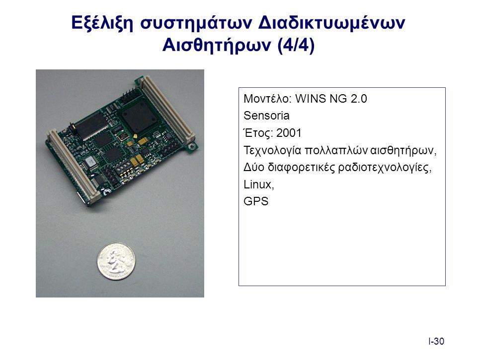 I-30 Εξέλιξη συστημάτων Διαδικτυωμένων Αισθητήρων (4/4) Μοντέλο: WINS NG 2.0 Sensoria Έτος: 2001 Τεχνολογία πολλαπλών αισθητήρων, Δύο διαφορετικές ραδιοτεχνολογίες, Linux, GPS